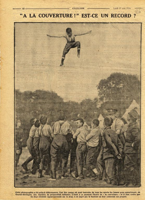 1916 Aldermaston camp blanket tossing