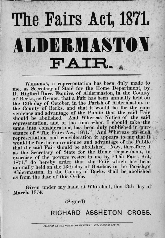 Abolish notice for Aldermaston Fair