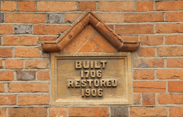 Date plaque, 1 & 2 Dixon's Almshouses, Church Road, Aldermaston | Peter Oldridge