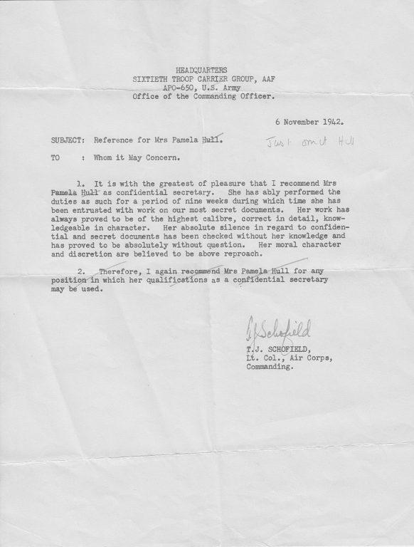 1942 Letter of Recommendation for Pam Gardner
