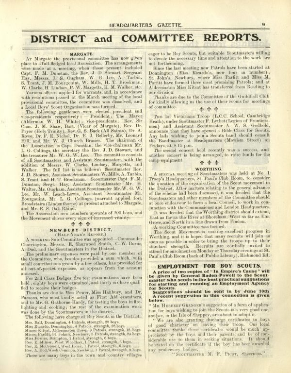 Boy Scouts Headquarters Gazette 1910 | The image is used with permission of The Scout Association (U.K.) Heritage Service