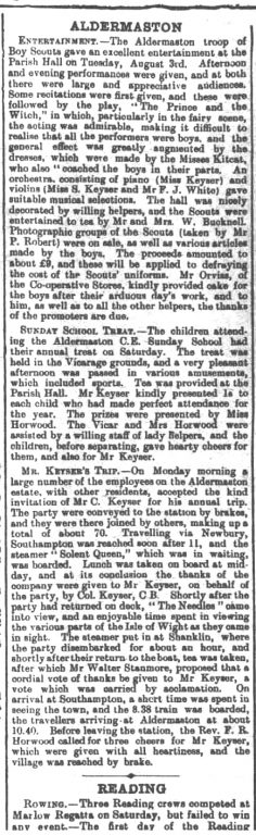 Article from Farringdon Advertiser Saturday August 14th 1909 | Newspaper image © The British Library Board. All rights reserved. With thanks to The British Newspaper Archive (www.britishnewspaperarchive.co.uk)
