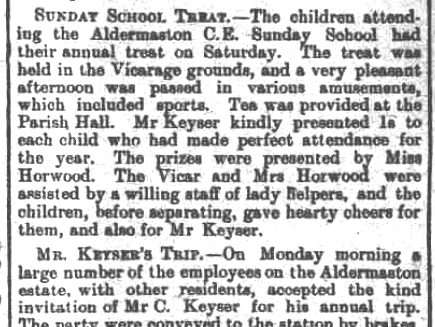 Article from the Faringdon Advertiser, Saturday 14th August 1909