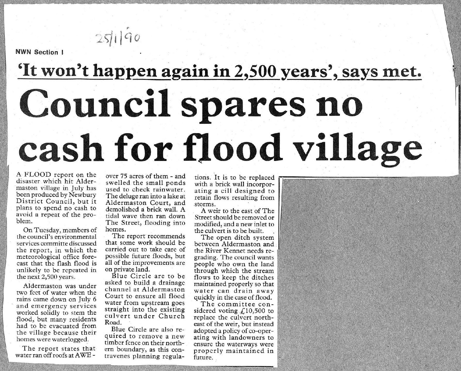 Council spares no cash for flooded village