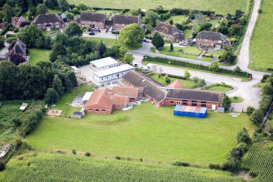 Aldermaston School, aerial view of temporary classrooms