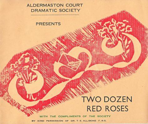 """""""Two Dozen Red Roses"""" Programme, Aldermaston Court Drama Society"""