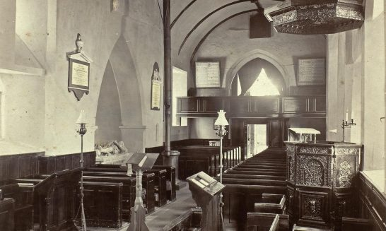 Church historical, internal view westwards