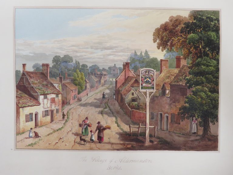 Village of Aldermaston, Berks | WA.Suth.C.2.408.14 George Shepherd, View of Aldermaston, Berkshire. Image © Ashmolean Museum, University of Oxford