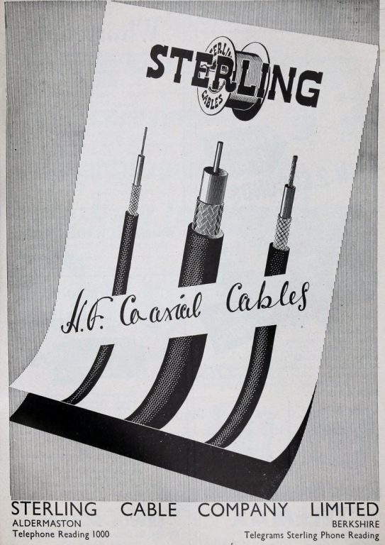 Sterling Cables advert - 'Electrical and Radio Trading' magazine September 1953 (source: https://www.gracesguide.co.uk/Sterling_Cable_Co)
