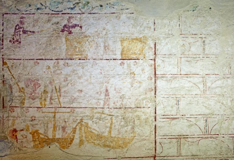 Aldermaston Church: ancient murals-2, probably the story of St Nicholas
