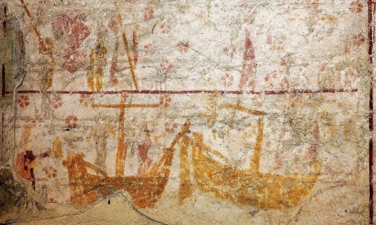 Aldermaston Church: ancient murals-3, medieval ships
