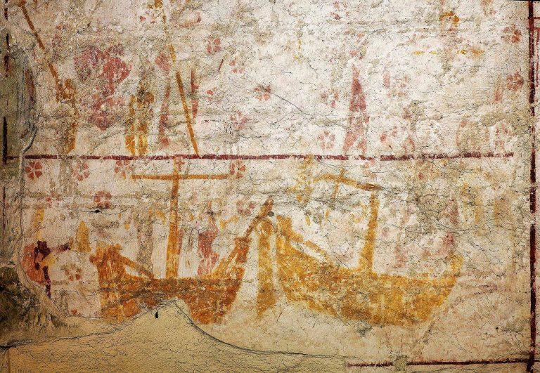 Aldermaston Church: ancient murals-3, medieval ships