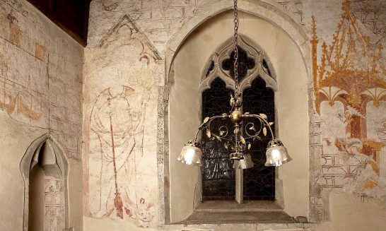 Aldermaston Church: ancient murals- 1. Ladies Chapel overview