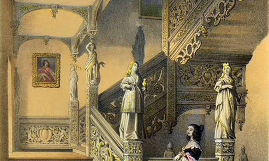 Aldermaston Manor House 1851- Staircase and wooden statues (narrative below pictures) Click on each photo to see the whole image.