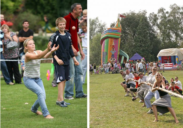 Left above: the egg-throwing contest involves raw eggs! On the right, a hilarious tug of war