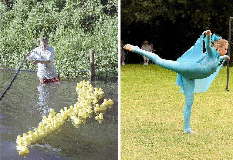 On the left, Clive Vare starts another heat in the Show's classic Duck Derby. Right: a dancer performs on the lawn.