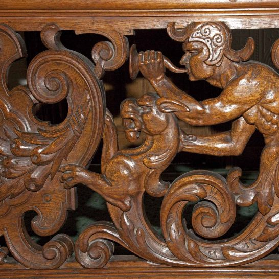 Staircase detail-1 Possibly a hunting scene?