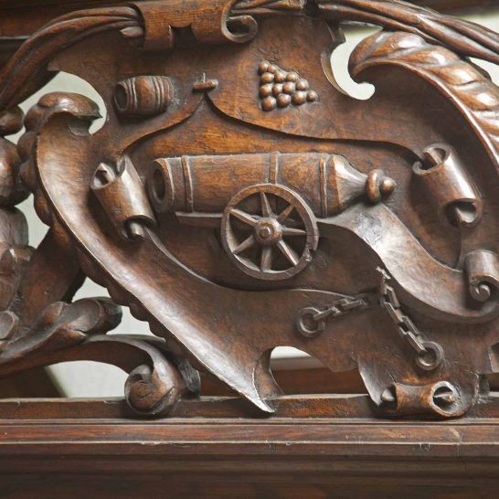 Detail from the staircase- a cannon