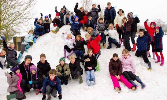Snowy Aldermaston- the children enjoy!