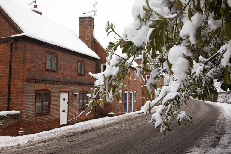 Snowy Aldermaston-Almshouses