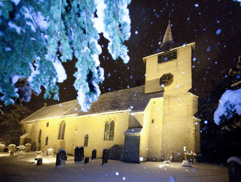 Snowy Aldermaston- St Mary's Church floodlit