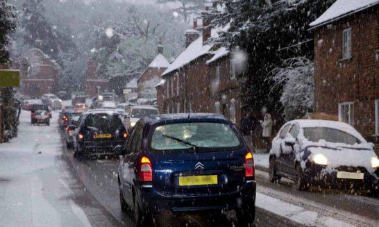 Snowy Aldermaston- traffic in The Street