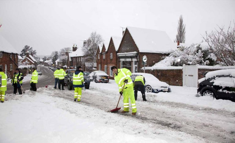 Snowy Aldermaston- AEW workers
