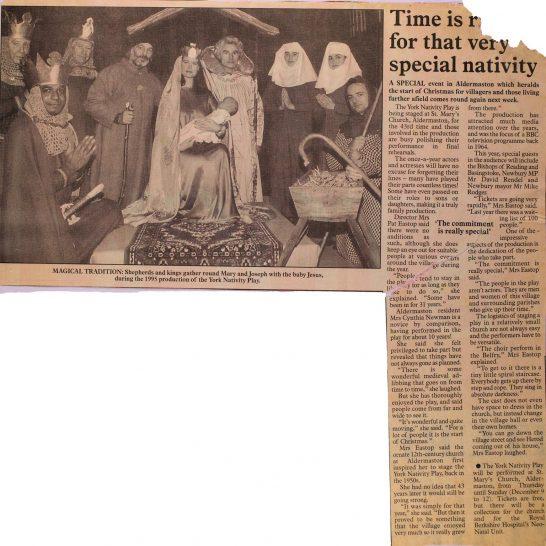 1999 York Nativity Play newspaper cuttings