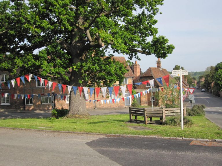 ..................….In 2020, Clive Vare festooned The Loosey with bunting, but people could not gather there as in 1945. | Photo courtesy of Clive Vare