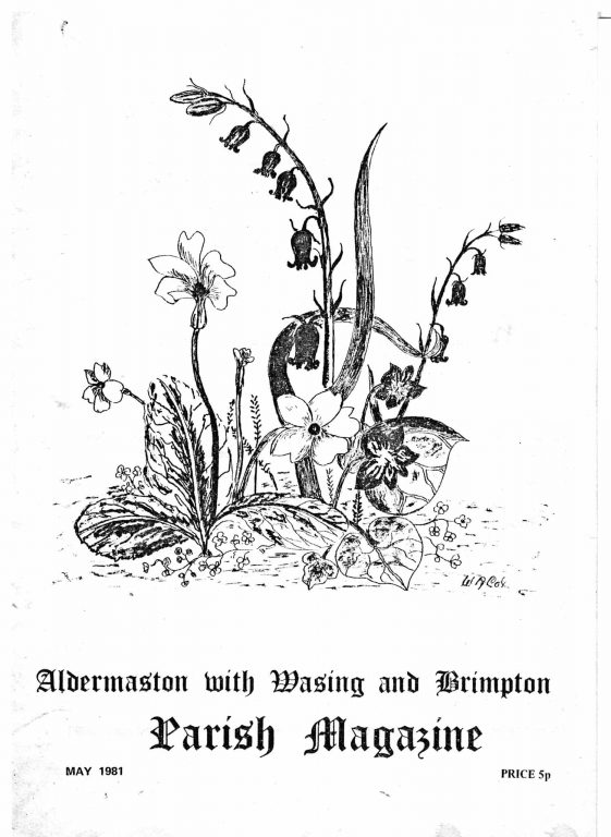 Parish mag cover- flowers, May 1981