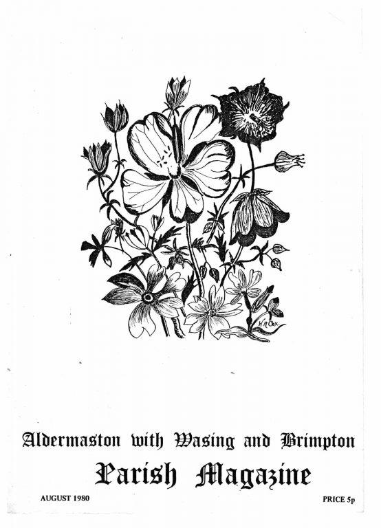 Parish mag cover- flowers, August 1980