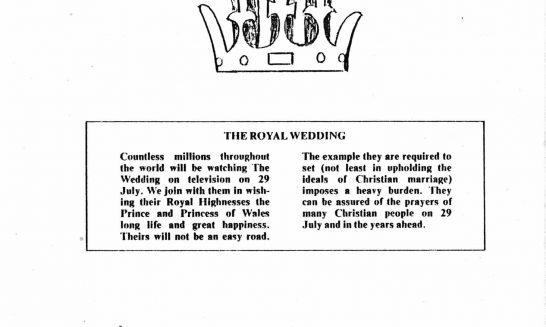 Parish mag cover- Royal wedding, August 1981
