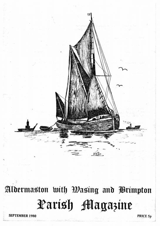 Parish mag cover- sailing barge, Sept 1980