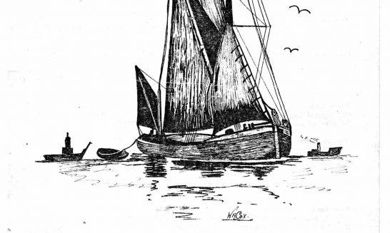 Parish mag cover- sailing barge, Sept 1980