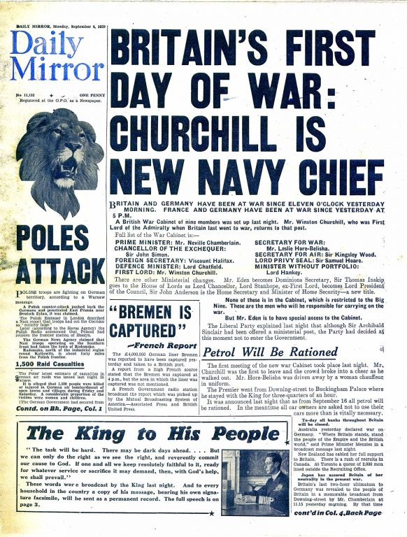 Daily Mirror 4.9.1939 front page