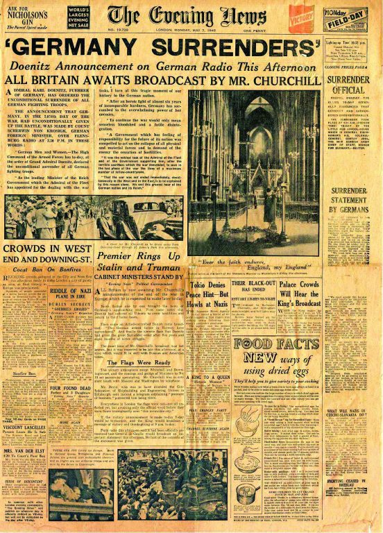 Evening News 7.5.1945 front page