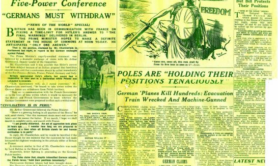 News of the World 3.9.1939 front page