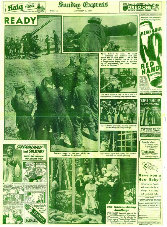 Sunday Express 3.9.1939- front page
