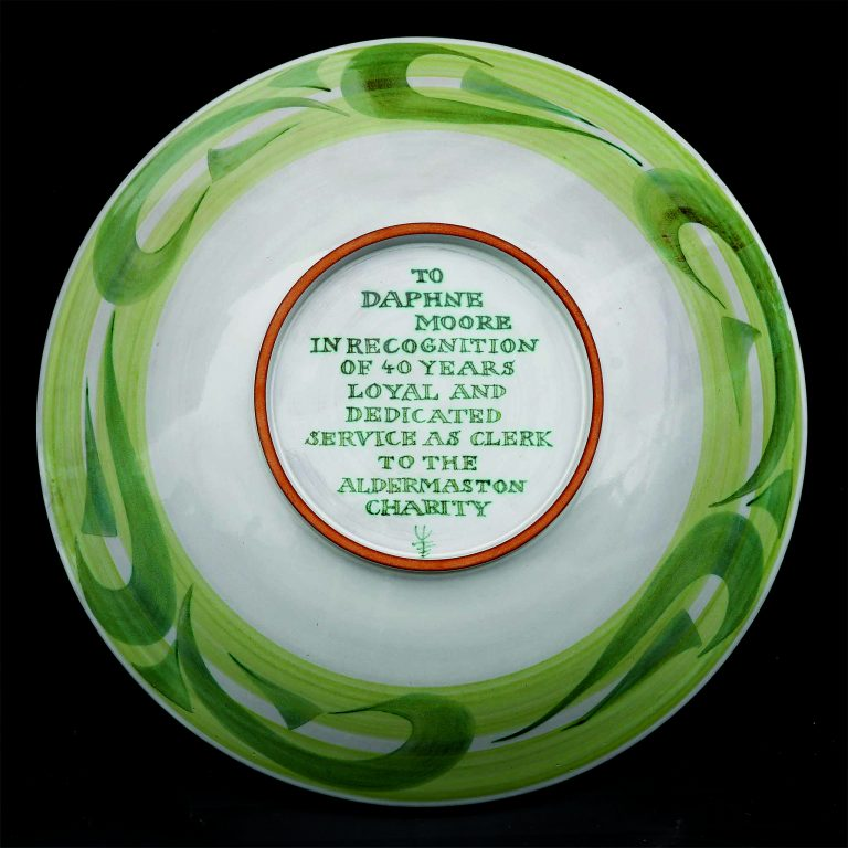 Aldermaston Ceramics- reverse of thank-you dish for Daphne Moore