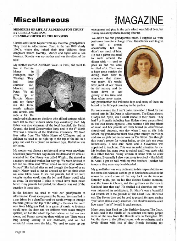 Charles Keyser's Granddaughter Memories-1