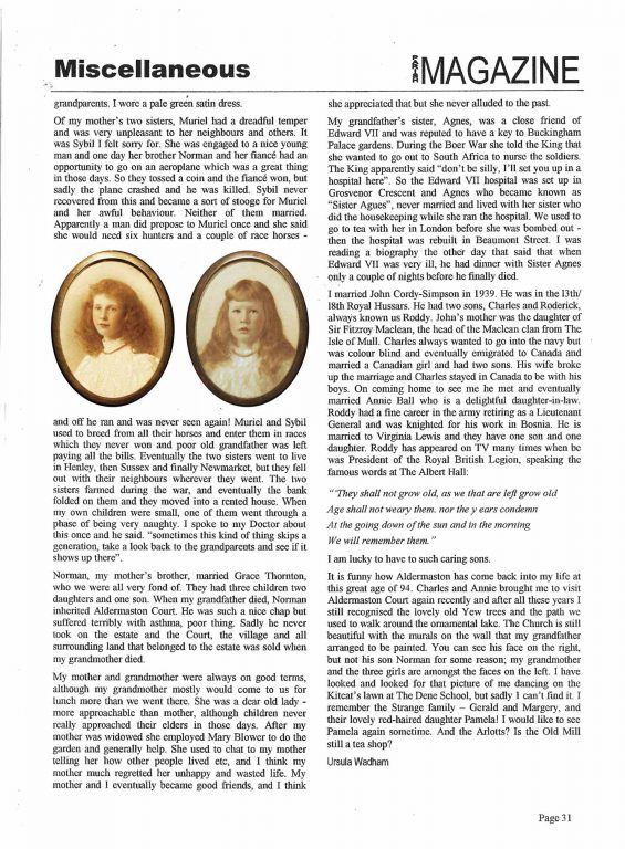Charles Keyser's Granddaughter Memories-2