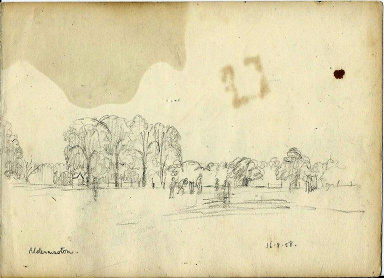 Pencil drawing, cricket match, Aldermaston, 16 August 1958 | Christopher Hall