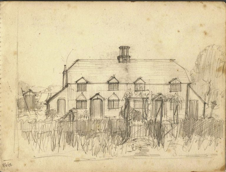 Pencil drawing, untitled pair of houses, 8 July 1953 | Christopher Hall