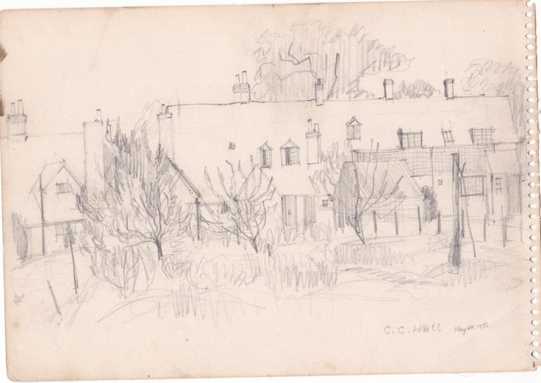 Pencil drawing, Rear view of 37-40 The Street, Aldermaston, 28 May, 1956 | Christopher Hall