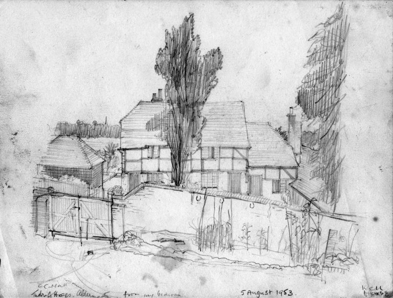 Pencil drawing, Tudor Cottages, Aldermaston, from The Well House, 5 August 1953 | Christopher Hall