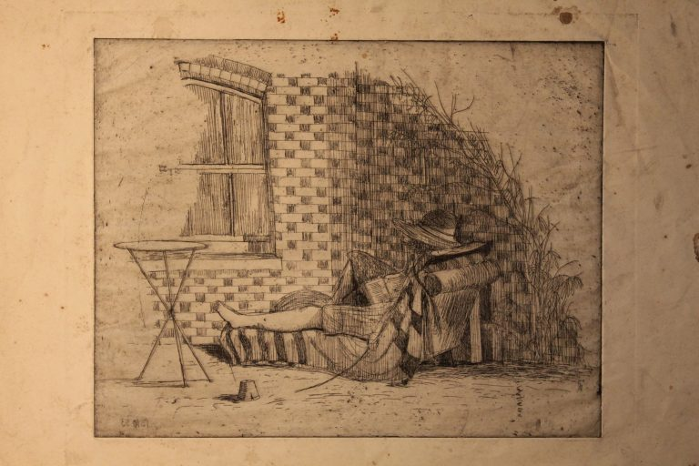 Pencil sketch, undated, possibly at The Well House, Aldermaston | Christopher Hall